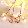 Image of New Water Drop Shape Austrian Crystal Long Stud Earrings with big Pearl Elegant Gold-color Jewelry for Women-Sinbadco