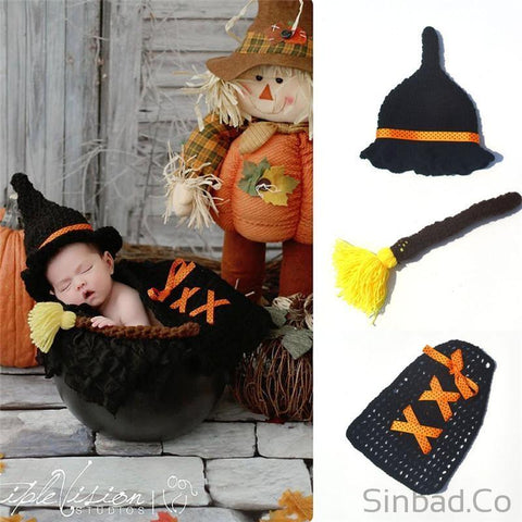 Newborn Witch Magician Hat & Cover Crochet Knitted Outfit Costume-Hat-Sinbadco