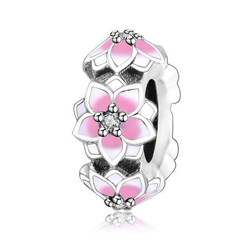 Original Pandora Charm Bracelet 925 Sterling Silver Beads Magnolia Bloom/Heart/Crosses-Sinbadco