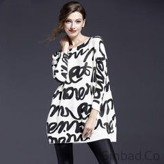 Oversized Loose Knitted Print Plus Size Sweater