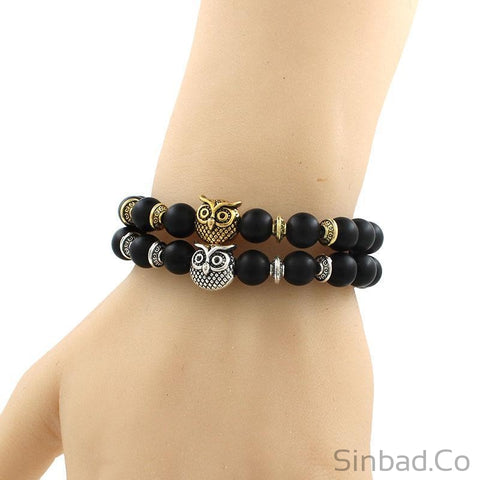Owl Head Natural Black Lava Rock Stone Beaded Bracelet-Sinbadco