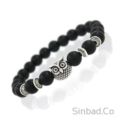 Owl Head Natural Black Lava Rock Stone Beaded Bracelet
