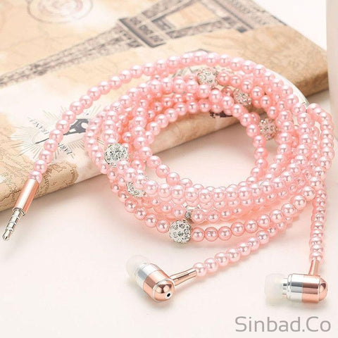 Pearl Necklace Earphones-Earphone-Sinbadco