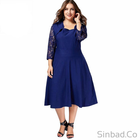 Plus Size 8XL 7XL 6XL 5XL Autumn Fall Floral Lace Midi Dress-Sinbadco