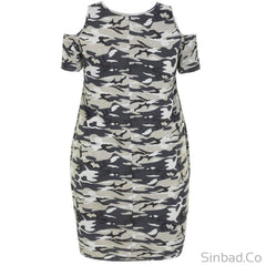 Plus Size Camo Military Dress