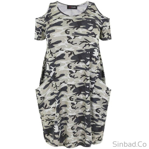 Plus Size Camo Military Dress-Dress-Sinbadco