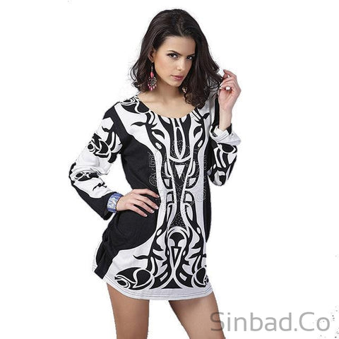Plus Size Nice Printed Dress-Dress-Sinbadco
