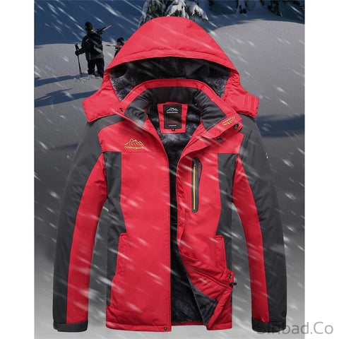 Plus Size Thick Warm Waterproof Outerwear snow Mountain Coat-Sinbadco