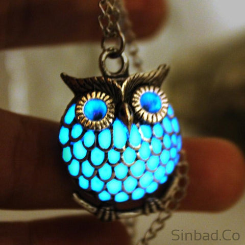 Punk Blue Glowing in the Dark Owl necklace-Sinbadco