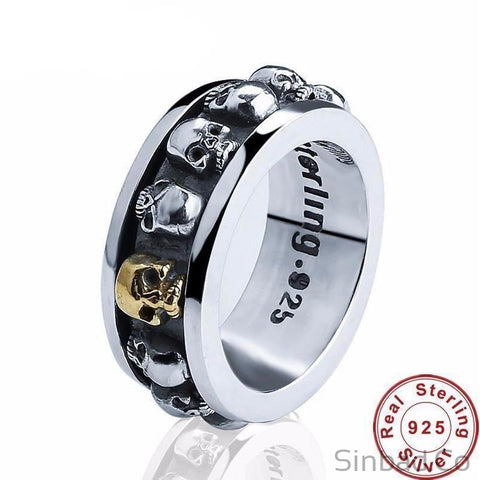 Punk Skull Rotatable Style Thai Silver Ring-Rings-Sinbadco