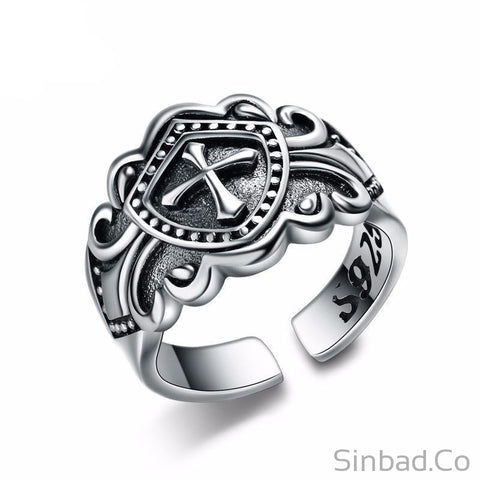 Pure S925 Thai Silver Cross Open Ring-Rings-Sinbadco