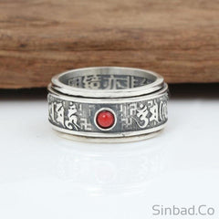 Red Gem 925 Sterling Thai Silver Mantra Verses Ring