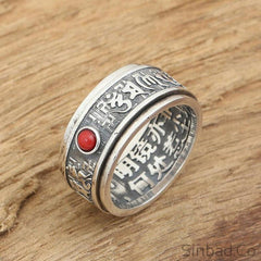 Red Gem 925 Sterling Thai Silver Mantra Verses Ring-Rings-Sinbadco