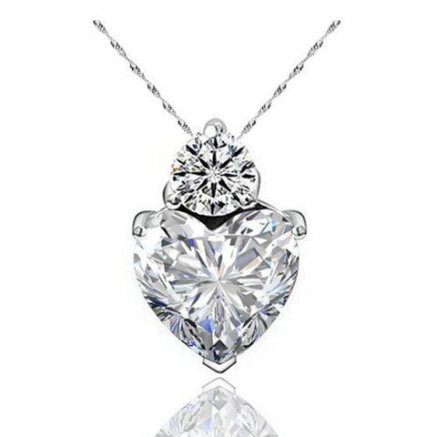 Red Heart Women's Necklace Crystal Jewelry Gifts Silver Plated Suspension-Sinbadco