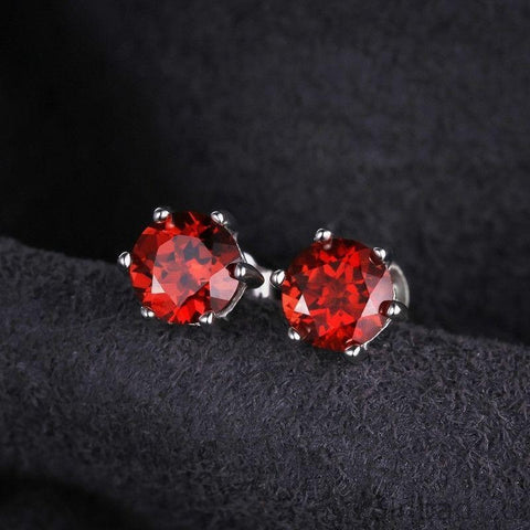 Red Natural Garnet Earrings 925 Sterling Silver-Earrings-Sinbadco