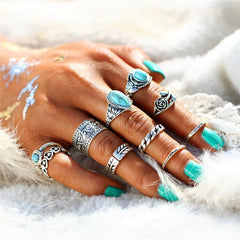 Retro Rose Vintage Blue Stone Love Heart Anillos Knuckle Rings 10PCS/Set