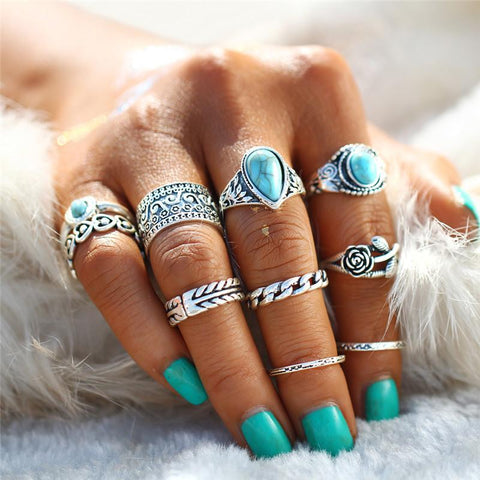 Retro Rose Vintage Blue Stone Love Heart Anillos Knuckle Rings 10PCS/Set-Sinbadco