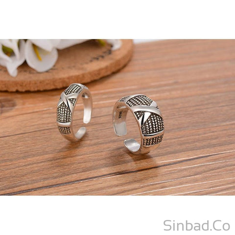 Retro Vintage Thai Silver Adjustable Ring-Rings-Sinbadco