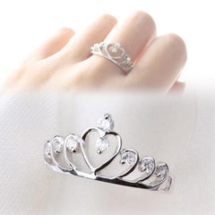 Rhinestones Inlaid Hollow Out Heart Crown Shaped Gold Silver Plated Woman Ring-Sinbadco