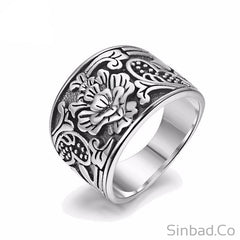 Romantic Flower S925 Solid Thai Silver Ring-Rings-Sinbadco