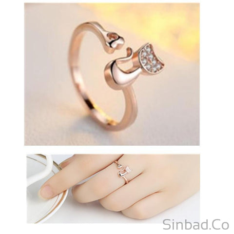 Rose Gold Color Cat Shape wedding Engagement Adjustable Ring for Women CZ Jewelry Gift for Girl Party-Sinbadco