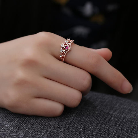 Rose Gold Color Crystal Ring-Sinbadco