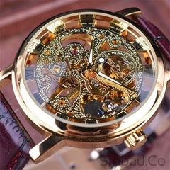 Royal Carving Skeleton Brown Leather Strap Watch