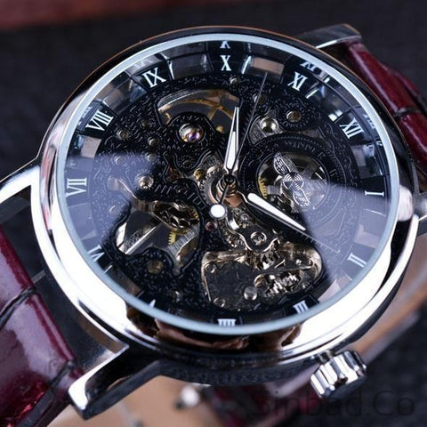 Royal Carving Skeleton Brown Leather Strap Watch-WATCHES-Sinbadco