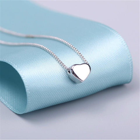 Shiny Heart 925 Sterling Silver Necklaces & Pendants-Sinbadco