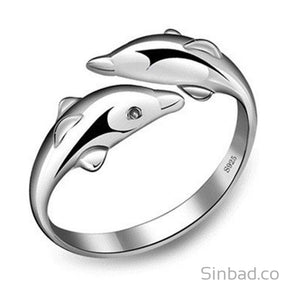 Silver Platinum Dolphins Ring Adjustable-Rings-Sinbadco