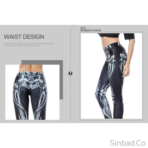 Skeleton 3d Digital Leggings-legging-Sinbadco