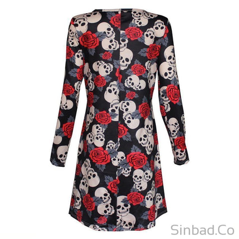 Skull Printed Loose Long Sleeve Party Mini Dress-Dress-Sinbadco