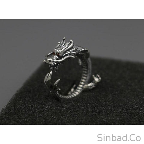 Solid Dragon 925 Thai Silver Ring-Rings-Sinbadco