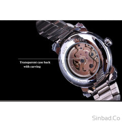 Stainless Steel Men Skeleton Watch