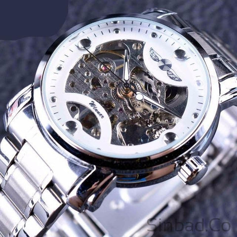 Stainless Steel Men Skeleton Watch-WATCHES-Sinbadco