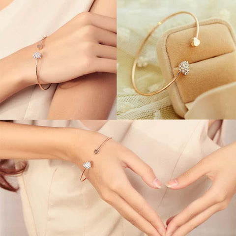 Trendy Double Peach Heart Gold Color Crystal Opening Bracelet Gift-Sinbadco