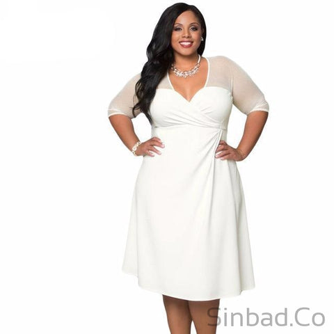 V Neck Half Sleeve Sugar And Spice Plus Size Dress-Sinbadco