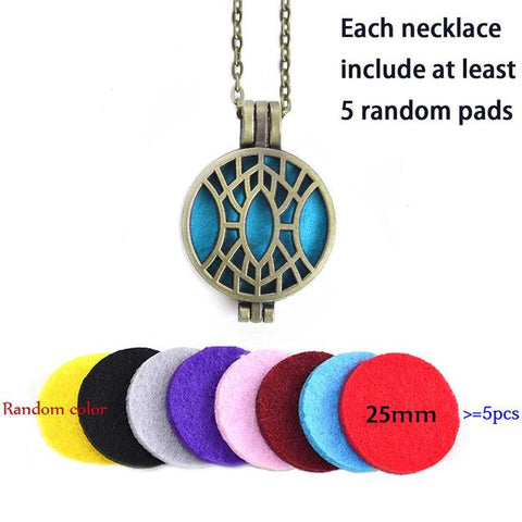Vintage Locket Pendant Perfume Essential Oil Aromatherapy Diffuser Locket Necklace-Sinbadco