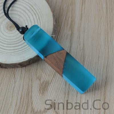 Vintage Resin Pendant & Woven Rope Chain-Resin-Sinbadco