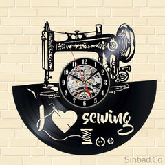 Vinyl Record Creative Design Sewing Machine Shape Wall Clock-Sinbadco