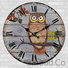 WISHFUL QUIET CARTOON OWL CLOCK