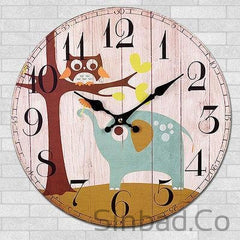 WISHFUL QUIET CARTOON OWL CLOCK-Sinbadco