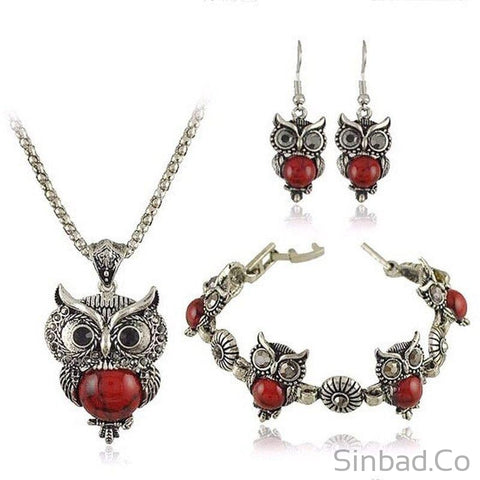 Wize Owl Bohemian Jewelry Set 4 Colors-Jewelry Sets-Sinbadco
