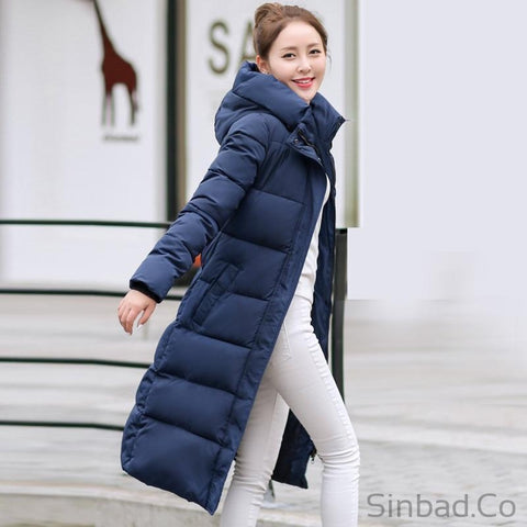 Women's Winter Cotton Padded Slim Long Jacket-Sinbadco