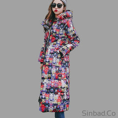 Women's Winter Cotton Padded Slim Long Jacket