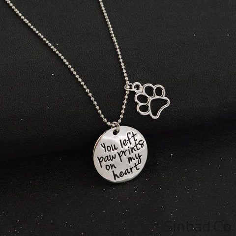"""You left paw print on my heart"" Pet Memorial Necklace-Pendant-Sinbadco"