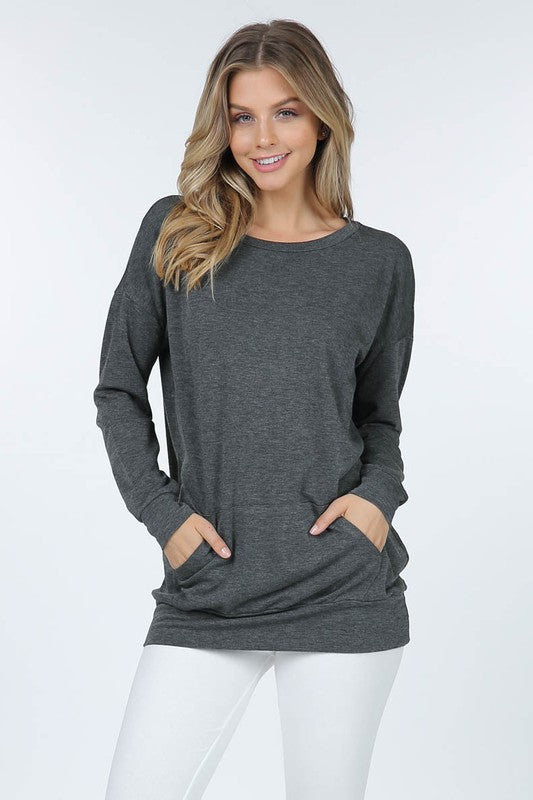 Kangaroo Pocket LS Tunic, Heathered Grey