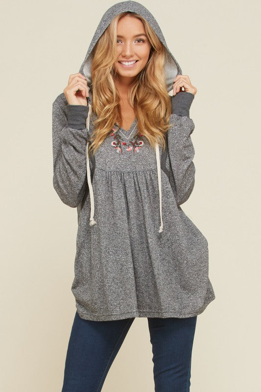 Embroidered Grey Hoodie