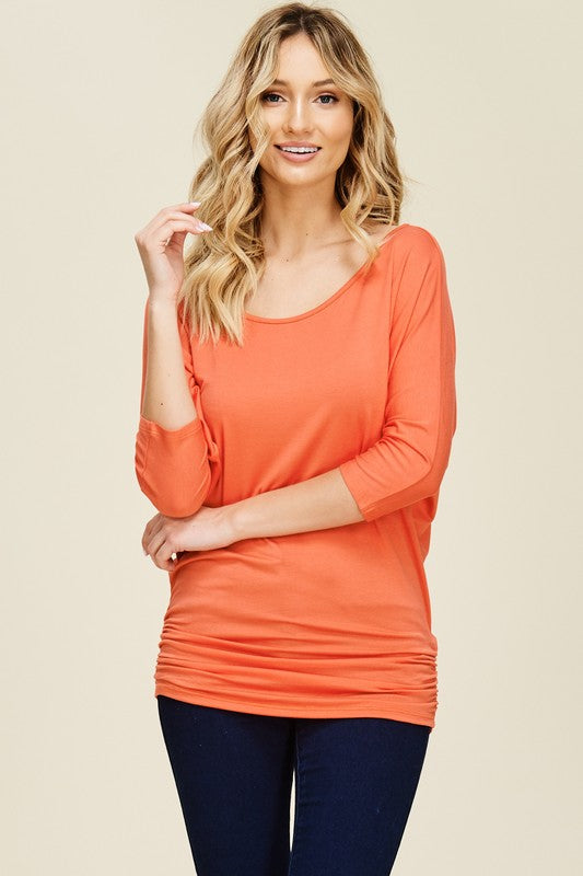 Tomato Ruched Top