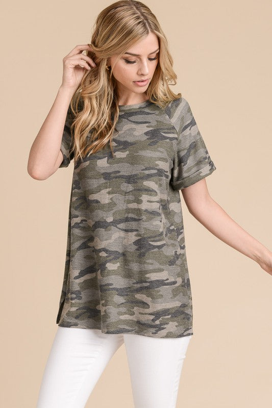 Camo Raglan Top with Rolled Sleeve